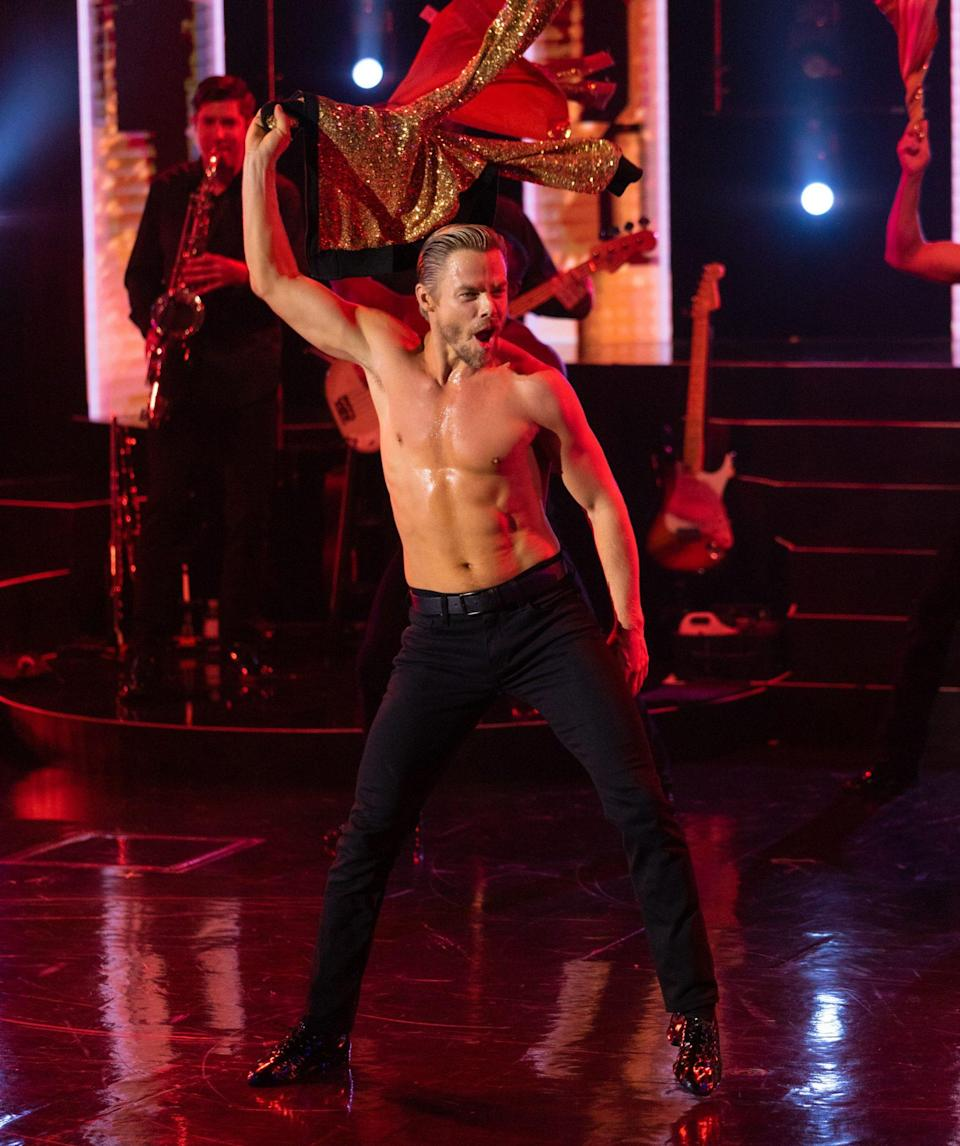 <p>Derek Hough shows off his toned physique on Sept. 22 as he opens his new residency show, <em>Derek Hough: No Limit, </em>at The Venetian Resort in Las Vegas. </p>