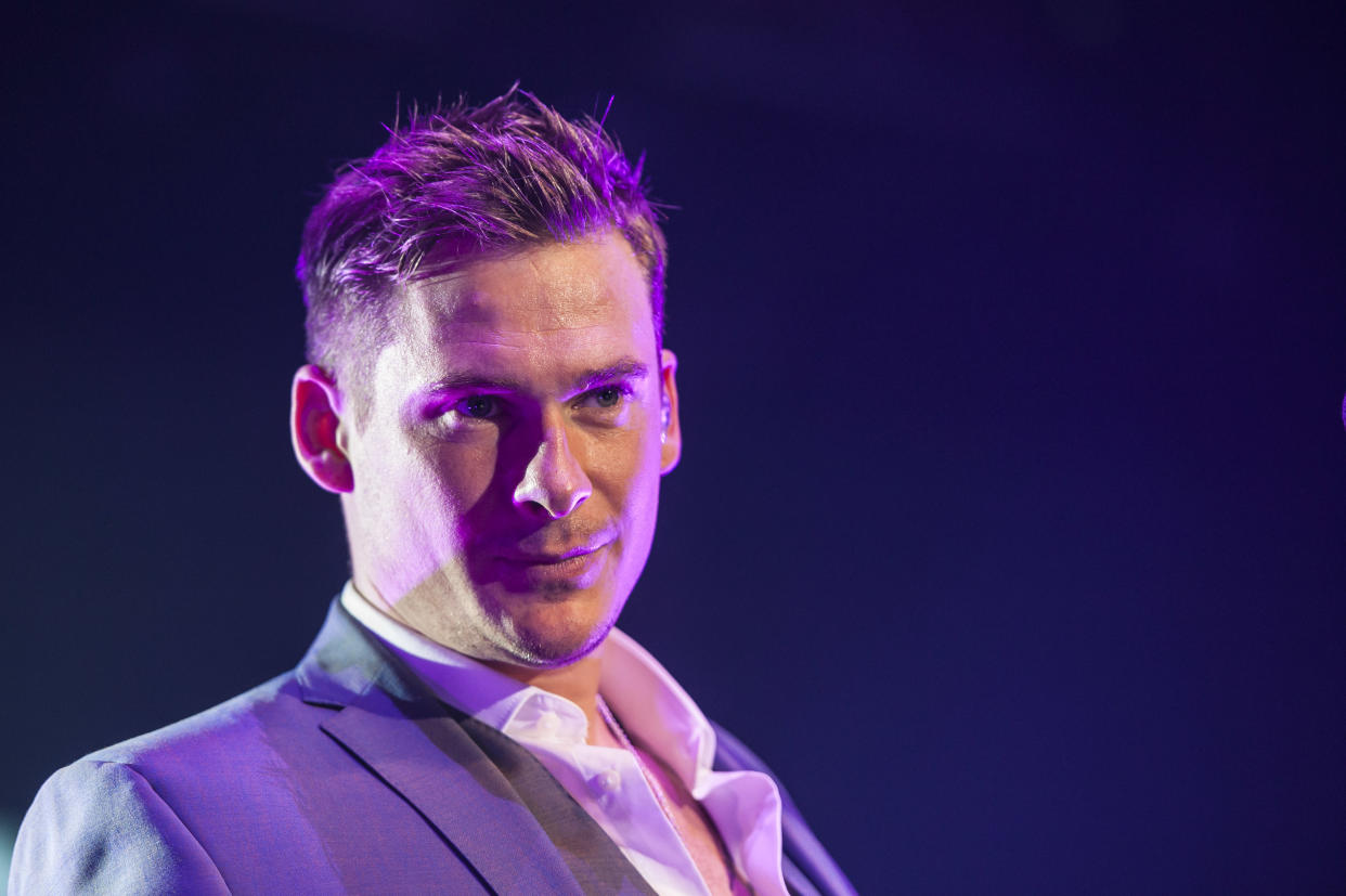 Lee Ryan of Blue performs live at the Roundhouse, in Camden, London.