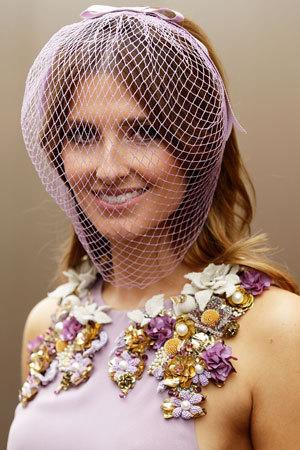 Socialite Kate Waterhouse's (lilac!) Gucci dress passes, but please explain the beekeeping veil!