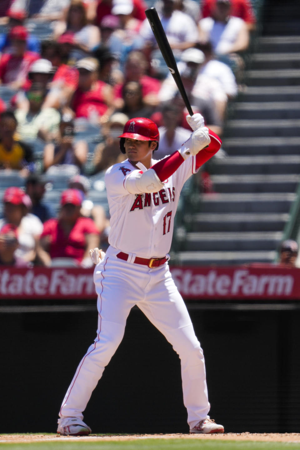 Los Angeles Angels designated hitter Shohei Ohtani (17) steps up to bat during the first inning of a baseball game against the Baltimore Orioles Sunday, July 4, 2021, in Anaheim, Calif. (AP Photo/Ashley Landis)