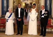 <p>Barack and Michelle Obama, QEII, and Prince Philip all looked dapper as they posed in the Music Room of Buckingham Palace. The queen invited the Obamas for a two-day State visit. <br></p>