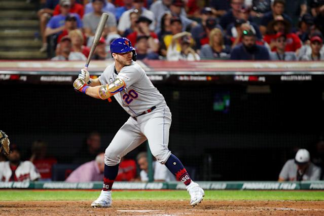 """<a class=""""link rapid-noclick-resp"""" href=""""/mlb/players/10918/"""" data-ylk=""""slk:Pete Alonso"""">Pete Alonso</a> recorded a two-RBI single in the All-Star Game. (Photo by Gregory Shamus/Getty Images)"""