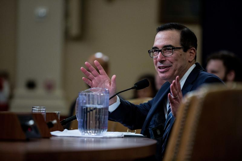 Steven Mnuchin, U.S. Treasury secretary, speaks during a House Ways and Means Committee hearing in Washington, D.C., U.S., on Thursday, March 14, 2019. Mnuchin said if Congress sends him a request for President Donald Trump's tax returns, he'll consult with the agency's legal department and follow the law. Photographer: Anna Moneymaker/Bloomberg via Getty Images