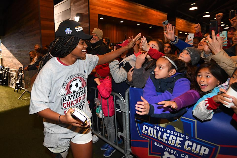 Madison Haley has won two national championships with Stanford women's soccer, but her work off the field is even more important. (Photo by Jamie Schwaberow/NCAA Photos via Getty Images)