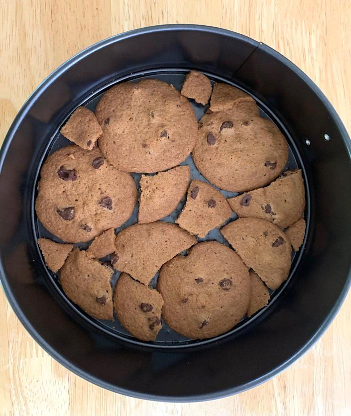 Laying out cookies for Ina Garten's mocha icebox cake