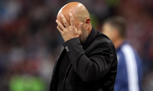 Jorge Sampaoli shows the strain during the defeat to Croatia.