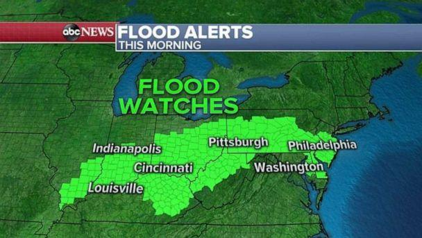 PHOTO: Flood watches stretched from Illinois to New Jersey Tuesday morning. (ABC News)