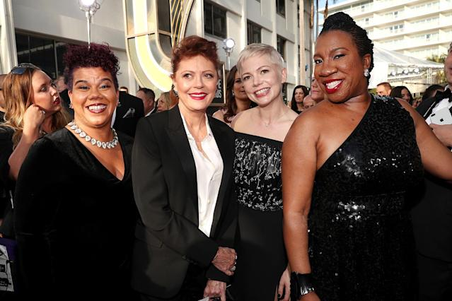 Activist Rosa Clemente, actors Susan Sarandon and Michelle Williams and activist Tarana Burke arrive to the 75th Annual Golden Globe Awards held at the Beverly Hilton Hotel on January 7, 2018. (Photo by Christopher Polk/NBC/NBCU Photo Bank via Getty Images)