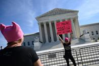 Protesters in front of the US Supreme Court during a women's march for abortion rights in Washington, DC, on October 2, 2021 (AFP/Andrew CABALLERO-REYNOLDS)
