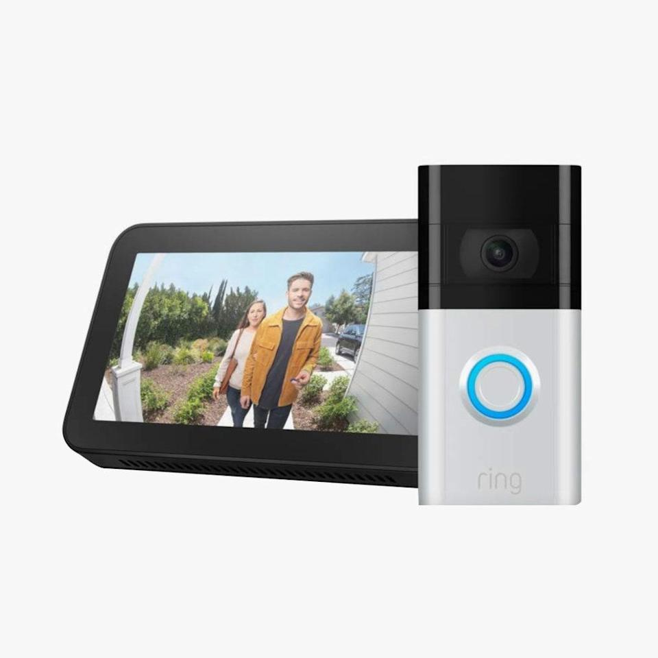 "Double up on security with this smart doorbell and Amazon's Echo Show to hear announcements of guests from Alexa. $290, AMAZON. <a href=""https://www.amazon.com/All-new-Ring-Video-Doorbell-Echo/dp/B085VHPH8P/r"" rel=""nofollow noopener"" target=""_blank"" data-ylk=""slk:Get it now!"" class=""link rapid-noclick-resp"">Get it now!</a>"