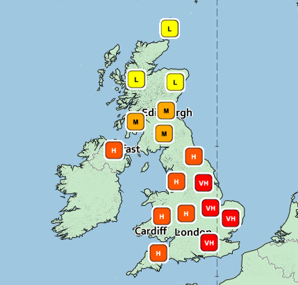The pollen count is set to rise to very high levels on Father's Day across some areas of England (Met Office)