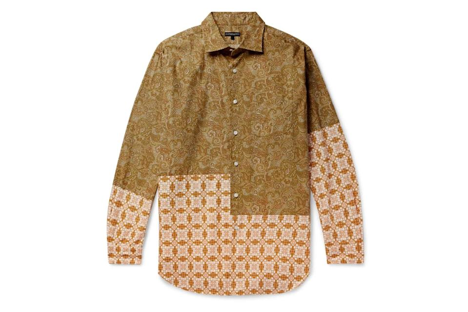 "$275, Mr Porter. <a href=""https://www.mrporter.com/en-us/mens/product/engineered-garments/clothing/printed-shirts/patchwork-printed-cotton-poplin-shirt/10516758727849489"" rel=""nofollow noopener"" target=""_blank"" data-ylk=""slk:Get it now!"" class=""link rapid-noclick-resp"">Get it now!</a>"