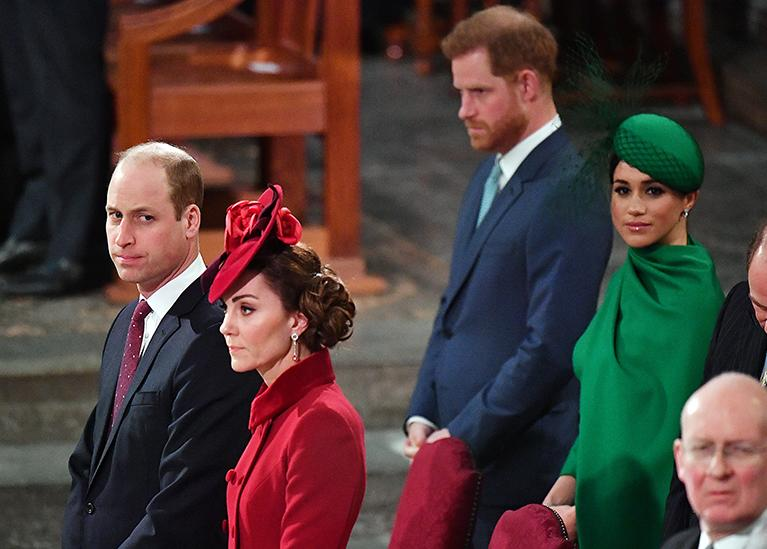 Images of Prince William and Kate Middleton with Prince Harry and Meghan Markle in the row behind them in church illustrating their estrangement