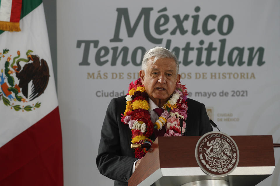 Mexican President Andres Manuel Lopez Obrador talks during a ceremony marking the 700 year anniversary of the founding of Tenochtitlan, known as Mexico City at the Templo Mayor archeological site in Mexico City, Thursday, May 13, 2021. (AP Photo/Eduardo Verdugo)