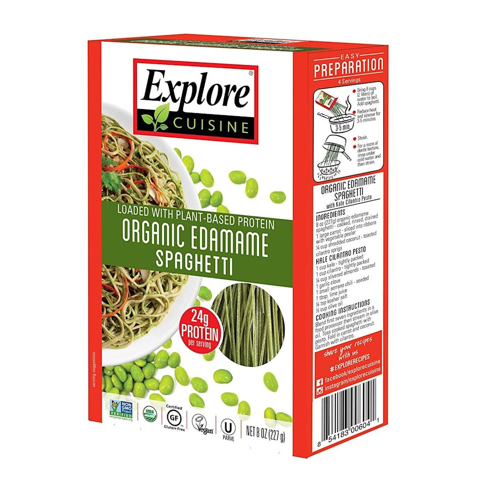 "<p>With seven grams of net carbs and 24 grams of protein, this <a href=""https://www.popsugar.com/buy/Explore-Cuisine-Organic-Edamame-Spaghetti-482424?p_name=Explore%20Cuisine%20Organic%20Edamame%20Spaghetti&retailer=amazon.com&pid=482424&price=27&evar1=fit%3Aus&evar9=46561204&evar98=https%3A%2F%2Fwww.popsugar.com%2Ffitness%2Fphoto-gallery%2F46561204%2Fimage%2F46561217%2FExplore-Cuisine-Organic-Edamame-Spaghetti&list1=shopping%2Camazon%2Cpasta%2Chealthy%20dinners&prop13=api&pdata=1"" rel=""nofollow"" data-shoppable-link=""1"" target=""_blank"" class=""ga-track"" data-ga-category=""Related"" data-ga-label=""https://www.amazon.com/Explore-Cuisine-Organic-Edamame-Spaghetti/dp/B01H4LBM54/ref=sr_1_26?crid=7DKZAJN3IVT1&amp;keywords=keto%2Bpasta&amp;qid=1566332625&amp;s=gateway&amp;sprefix=keto%2Bpasta%2Caps%2C657&amp;sr=8-26&amp;th=1"" data-ga-action=""In-Line Links"">Explore Cuisine Organic Edamame Spaghetti</a> ($27 for six) is what we're craving for dinner.</p>"