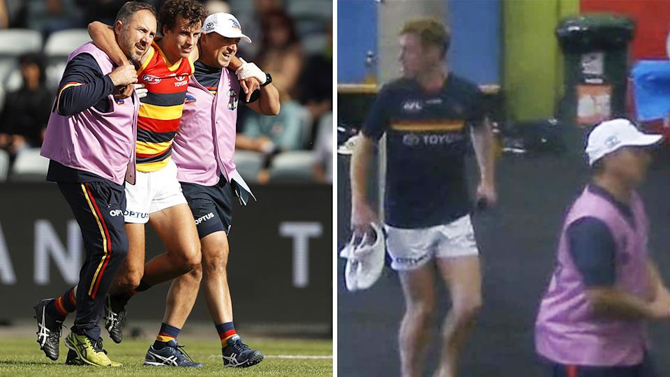 The Adelaide Crows were caught out when defender Will Hamill hurt his ankle, forcing Tom Lynch to come on as the medical substitute despite nursing an injury of his own. Pictures: Getty Images/Fox Footy