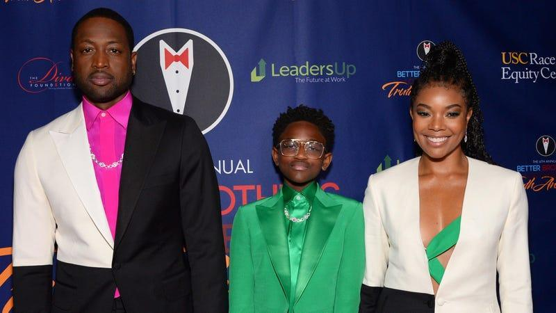 (L-R) Dwyane Wade, Zaya Wade and Gabrielle Union attend the Better Brothers Los Angeles Truth Awards on March 07, 2020 in Los Angeles, Calif.