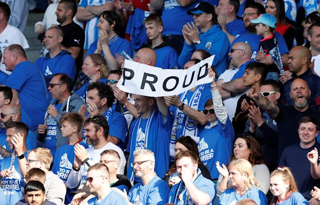 "Soccer Football - Premier League - Huddersfield Town vs Arsenal - John Smith's Stadium, Huddersfield, Britain - May 13, 2018 Huddersfield Town fans display a banner at the end of the match Action Images via Reuters/Andrew Boyers EDITORIAL USE ONLY. No use with unauthorized audio, video, data, fixture lists, club/league logos or ""live"" services. Online in-match use limited to 75 images, no video emulation. No use in betting, games or single club/league/player publications. Please contact your account representative for further details."