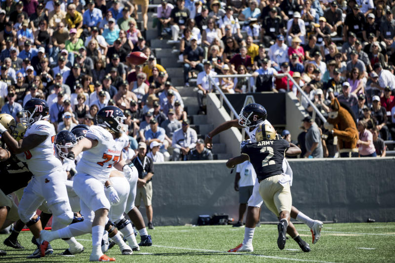Morgan State quarterback DeAndre Harris (6) throws a pass that is intercepted during the first half of an NCAA college football game, Saturday, Sept. 21, 2019 in West Point, N.Y. (AP Photo/Julius Constantine Motal)