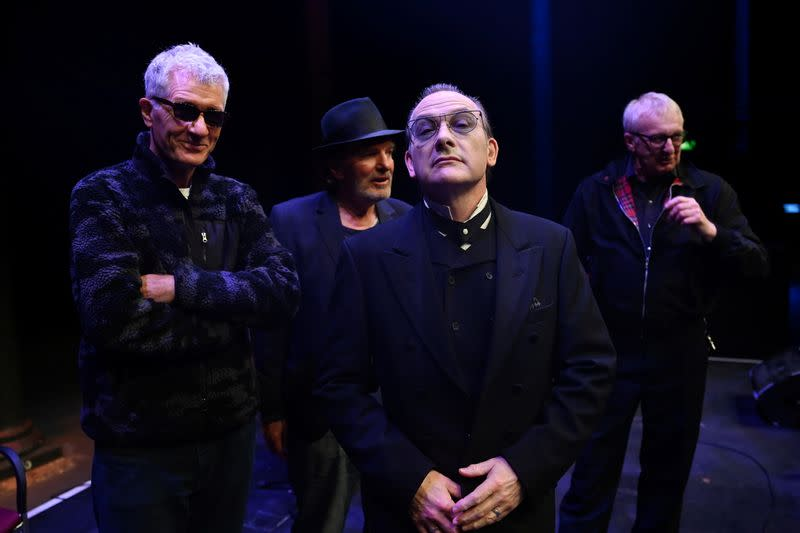 British punk band The Damned pose for a picture as they mark the group's re-launch with its original members in London