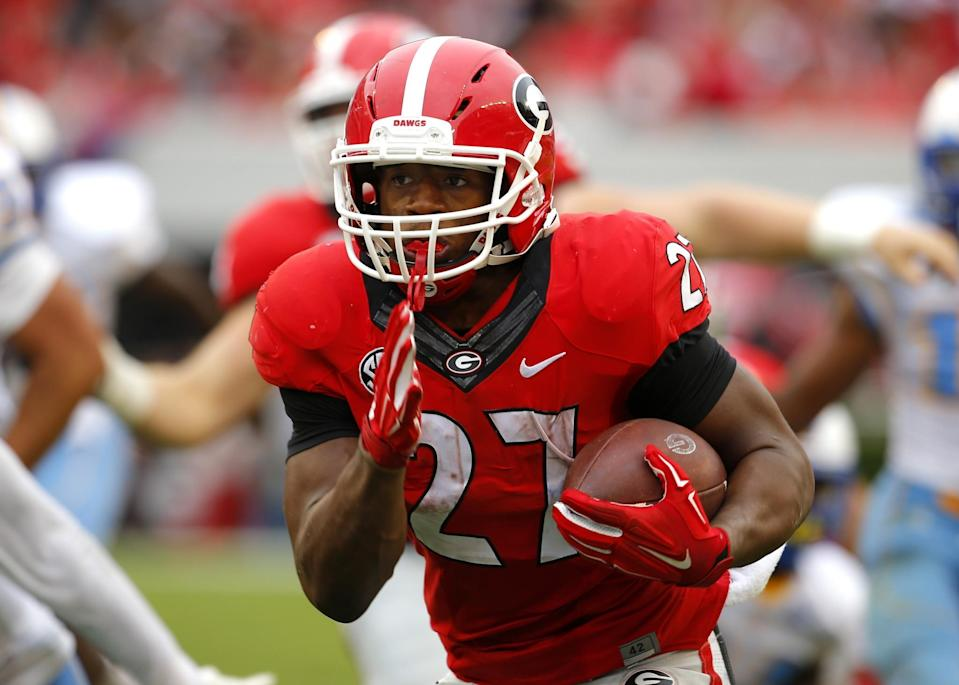 Chubb averaged over 8 yards per carry in 2015 before his injury (Getty).