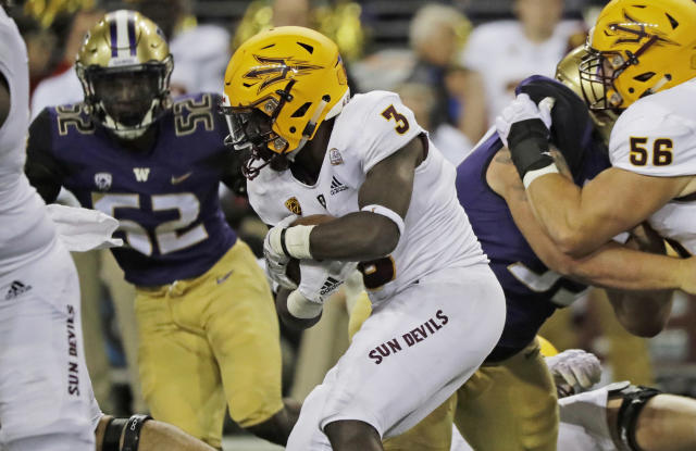 Arizona State running back Eno Benjamin (3) rushes against Washington during the first half of an NCAA college football game, Saturday, Sept. 22, 2018, in Seattle. (AP Photo/Ted S. Warren)