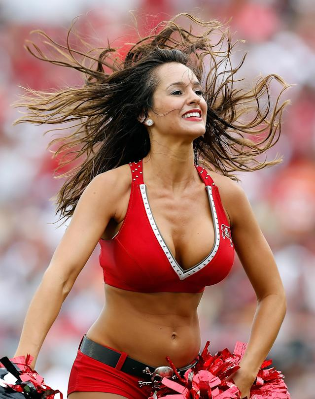 TAMPA, FL - SEPTEMBER 09: A cheerleader of the Tampa Bay Buccaneers performs during the game against the Carolina Panthers at Raymond James Stadium on September 9, 2012 in Tampa, Florida. (Photo by J. Meric/Getty Images)