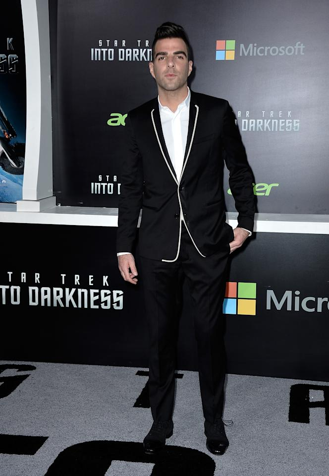 "HOLLYWOOD, CA - MAY 14:  Actor Zachary Quinto arrives at the premiere of Paramount Pictures' ""Star Trek Into Darkness"" at Dolby Theatre on May 14, 2013 in Hollywood, California.  (Photo by Frazer Harrison/Getty Images)"