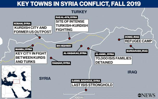 Key Towns in Syria Conflict, Fall 2019 (ABC News Illustration)