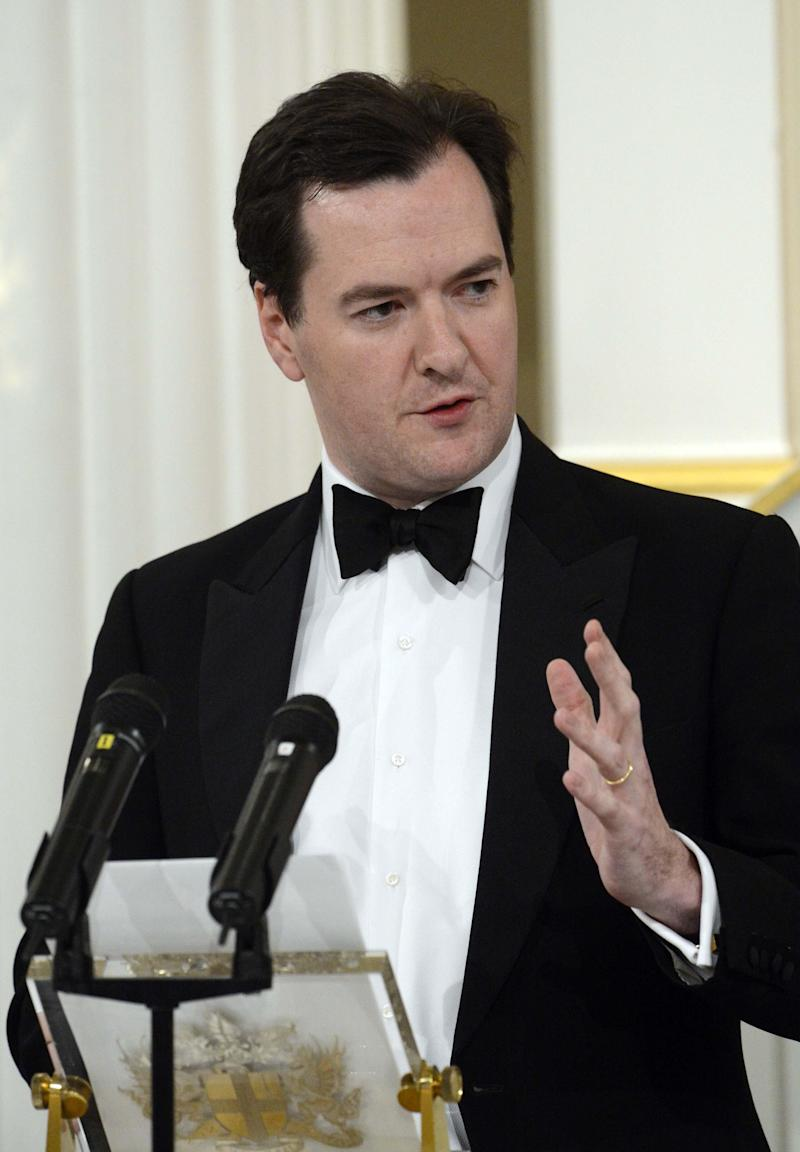 Britain's Chancellor of the Exchequer George Osborne delivers his Mansion House speech  during The Lord Mayor of the City of London's annual Dinner to the Bankers and Merchants, Mansion House, London Thursday June 14, 2012.  Osborne said the government and Bank of England will launch an emergency bank lending scheme in an attempt to tackle a squeeze on credit. (AP Photo/Rebecca Naden/PA)  UNITED KINGDOM OUT