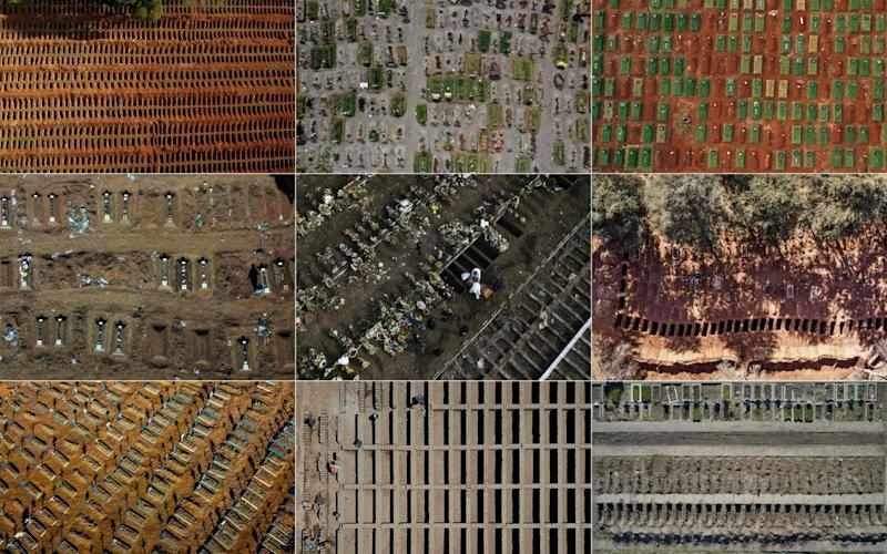 Aerial view of mass graves from around the world - AFP