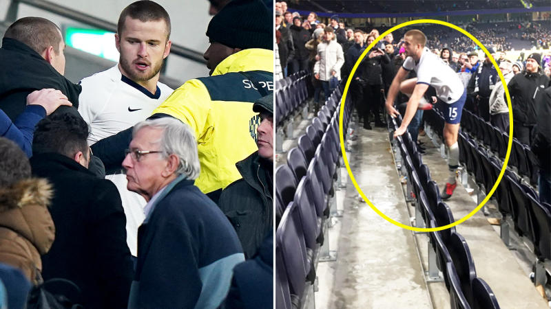 Eric Dier, pictured here rushing into the stands to confront a fan after the FA Cup match.