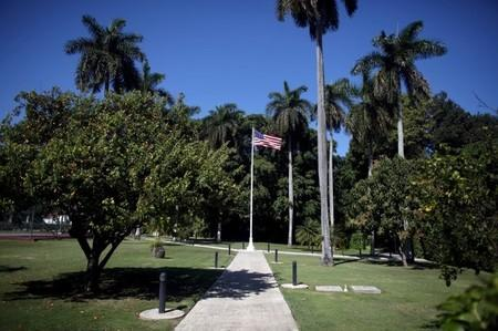 The U.S. flag is pictured at the garden of the U.S. ambassadorial residence, where U.S. President Barack Obama, his wife and first lady Michelle Obama, their two daughters Malia and Sasha and the first lady's mother Marian Robinson are scheduled to stay during the first visit by a U.S. president to Cuba in 88 years, in Havana, March 14, 2016. REUTERS/Alexandre Meneghini