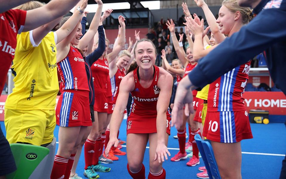 Grace Balsdon of Great Britain is given a guard of honour after she plays her 50th combined GB and England match during the Women's FIH Field Hockey Pro League match between Great Britain and Belgium at Lee Valley Hockey and Tennis Centre on May 19, 2019 in London, United Kingdom.  - GETTY IMAGES