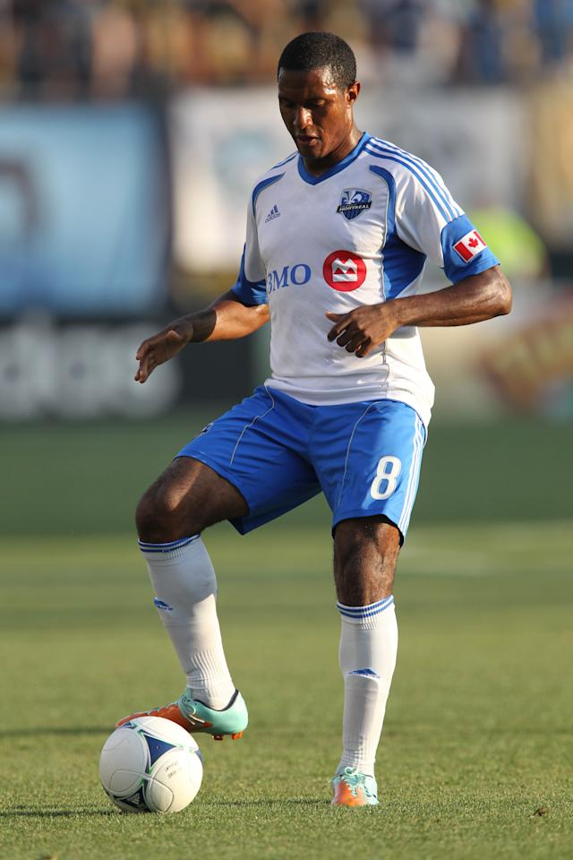 CHESTER, PA - JULY 14: Midfielder Patrice Bernier #8 of the Montreal Impact dribbles the ball during a game against the Philadelphia Union at PPL Park on July 14, 2012 in Chester, Pennsylvania. The Union won 2-1. (Photo by Hunter Martin/Getty Images)