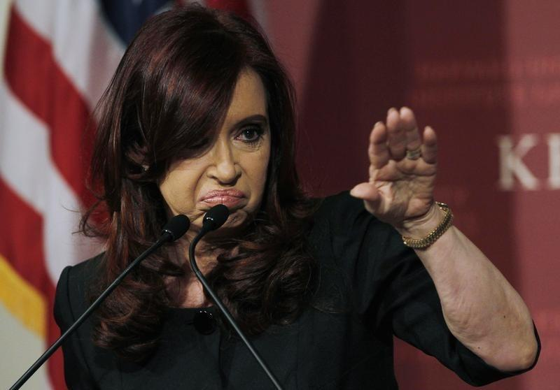 Argentina's President Cristina Fernandez de Kirchner responds to a question from a member of the audience at the John F. Kennedy Jr. Forum at Harvard University in Cambridge