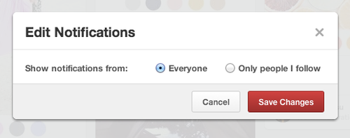 Pinterest Edit Notifications screen