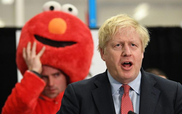Boris Johnson giving his victory speech in Uxbridge at the last election, in December 2019 - PA