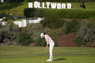Jin Young Ko putts on the 15th green during the final round of the LPGA's Hugel-Air Premia LA Open golf tournament at Wilshire Country Club Saturday, April 24, 2021, in Los Angeles. (AP Photo/Ashley Landis)