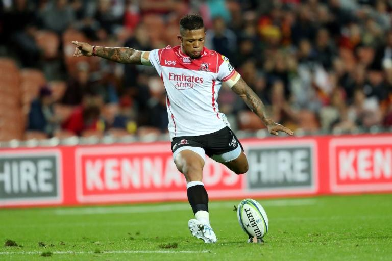 Lions fly half Elton Jantjies en-route to scoring 13 points against the Chiefs in Hamilton