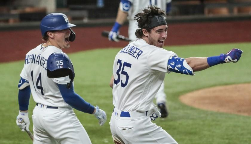 Arlington, Texas, Sunday, October 18, 2020. Los Angeles Dodgers center fielder Cody Bellinger (35) homers in the seventh inning in game seven of the NLCS at Globe Life Field. (Robert Gauthier/ Los Angeles Times)