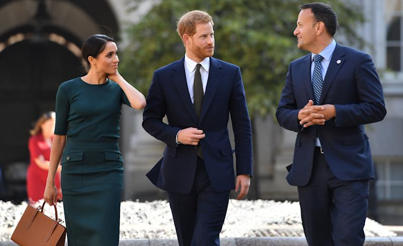The Duke and Duchess of Sussex were greeted by Taoiseach, Leo Varadkar at Government Buildings on the first day of their Dublin trip [Photo: Getty]