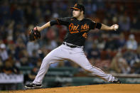 Baltimore Orioles' Keegan Akin pitches during the first inning of the team's baseball game against the Boston Red Sox, Friday, Sept. 17, 2021, in Boston. (AP Photo/Michael Dwyer)