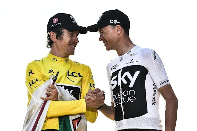 Both Tour de France champion Geraint Thomas and four-time Tour de France winner and Team Sky team-mate Chris Froome are to compete in this year's Tour of Britain ensuring massive crowds (AFP Photo/Jeff PACHOUD)