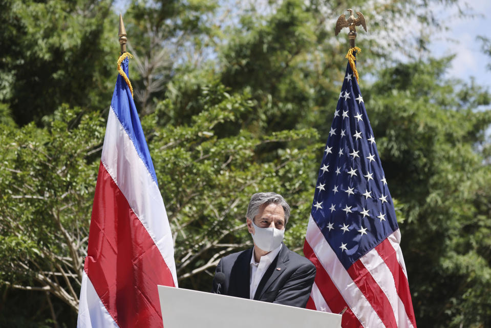 U.S. Secretary of State Antony Blinken speaks during the launch of National Land Use, Land Cover, and Ecosystems Monitoring System (SIMOCUTE), Wednesday, June 2, 2021, in San Jose, Costa Rica. (Evelyn Hockstein/Pool via AP)