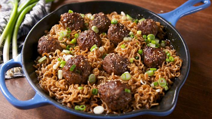 """<p><span>Dinner is served!</span></p><p><span>Want more Asian-American recipes? Try our </span><a href=""""https://www.delish.com/cooking/g1995/asian-noodles/"""" rel=""""nofollow noopener"""" target=""""_blank"""" data-ylk=""""slk:amazing Asian noodles"""" class=""""link rapid-noclick-resp"""">amazing Asian noodles</a><span>.</span></p>"""