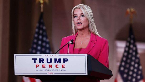 PHOTO: Former Florida Attorney General Pam Bondi takes to the podium at the Mellon Auditorium to address the Republican National Convention, Aug. 25, 2020, in Washington. (Chip Somodevilla/Getty Images)