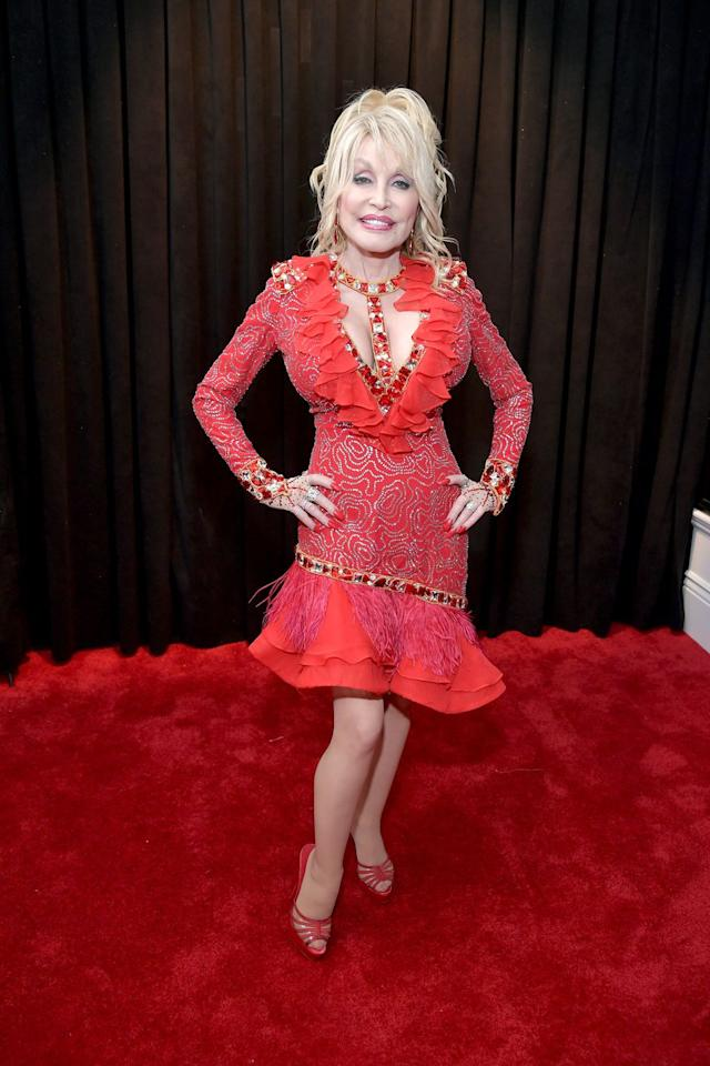 <p>Dolly Parton was honoured at the 61st annual Grammy Awards.</p>