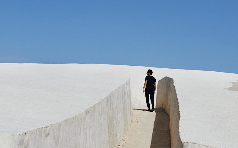 The Cretto di Burri, a recently completed work of land art in Gibellina, west of Palermo, built to commemorate a village destroyed by an earthquake in 1968.