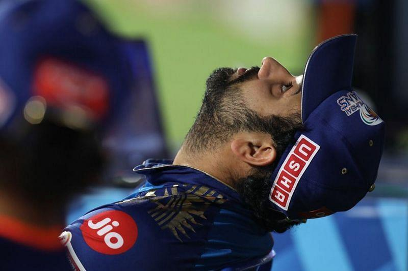 Rohit Sharma had a lot to be exasperated about in an SRH mauling of MI. [PC: iplt20.com]